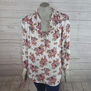 14th Union Floral Front Tie Long Bell Sleeve Top